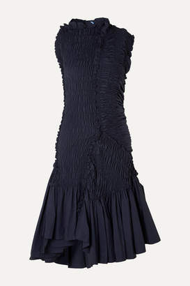 Thierry Mugler Asymmetric Ruffled Smocked Taffeta Dress - Navy
