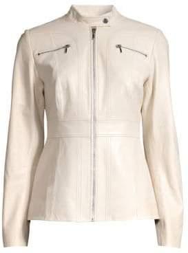 Elie Tahari Women's Sage A-line Leather Jacket - Biscotti - Size 16