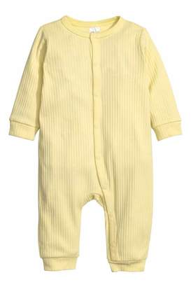 H&M Ribbed Jumpsuit - Light yellow - Kids
