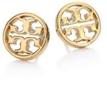 Tory Burch Logo Circle Stud Earrings/Goldtone