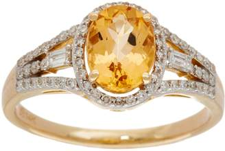 Oval Imperial Topaz & Baguette Diamond Ring 14K, 1.15 cttw
