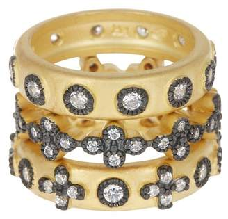 Freida Rothman Two-Tone Mixed Clover CZ Accent Ring Set - Size 6