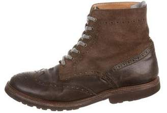 Brunello Cucinelli Leather and Suede Ankle Boots