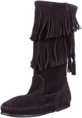 Minnetonka Women's Calf Hi 2-Layer Fringe Boot