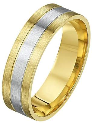 Theia His & Hers 14ct Yellow and White Gold Two-Tone 6mm Diamond Wedding Ring - Size R