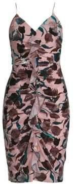 Aidan Mattox Antique Floral Print Sheath Dress