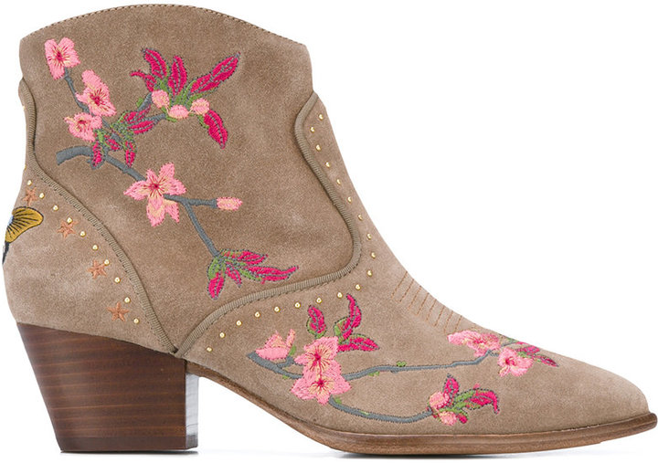 Ash Ash floral embroidered ankle boots