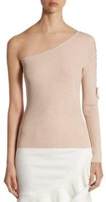 Lace-Up One-Shoulder Sweater