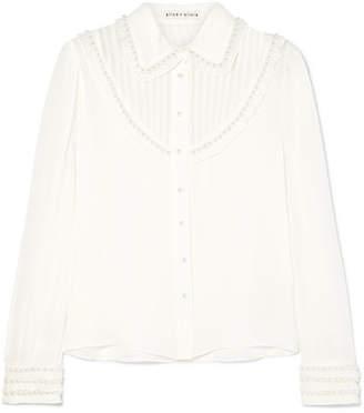 Alice + Olivia Alice Olivia - Noreen Embellished Ruffled Silk-chiffon Blouse - White