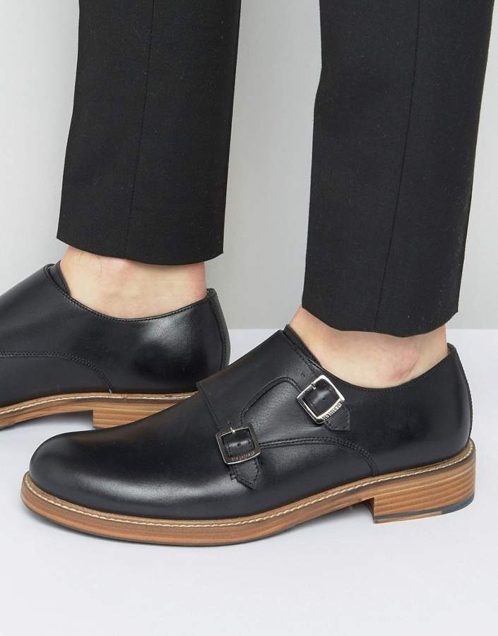 Ben Sherman Ben Sherman Parc Monk Shoes In Black Leather