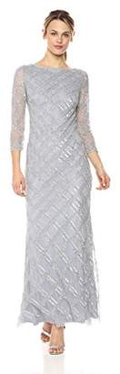 Adrianna Papell Women's Petite Beaded Crosshatch Design Long Sleeve Gown