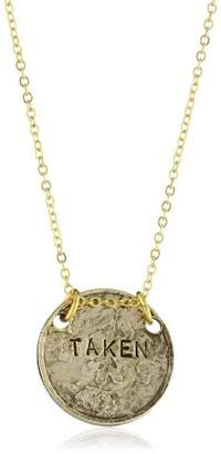 "Alisa Michelle Short and Sweet"" 14K Plated Double Sided Single and Taken Coin Necklace"