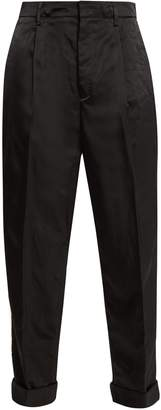 Prada High-rise paperbag-waist satin trousers