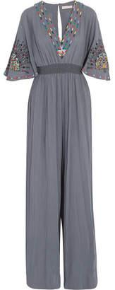 Matthew Williamson Pampas Peacock Embroidered Cotton Jumpsuit - Dark gray