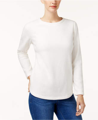 Karen Scott Petite Fleece Crew-Neck Sweatshirt, Created for Macy's