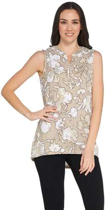 Denim & Co. Floral Print Sleeveless Y-Neck Tank w/ Hi-Low Hem