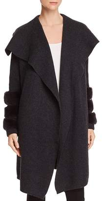 Bloomingdale's C by Rabbit Fur-Trim Cashmere Sweater Coat - 100% Exclusive