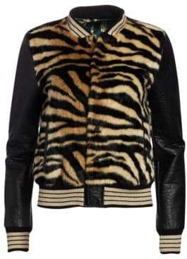 Mother The Baseball Faux-Fur Snap Jacket