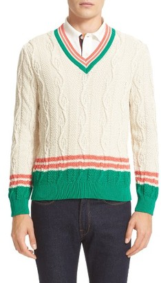 Men's Paul Smith Cable V-Neck Sweater $675 thestylecure.com