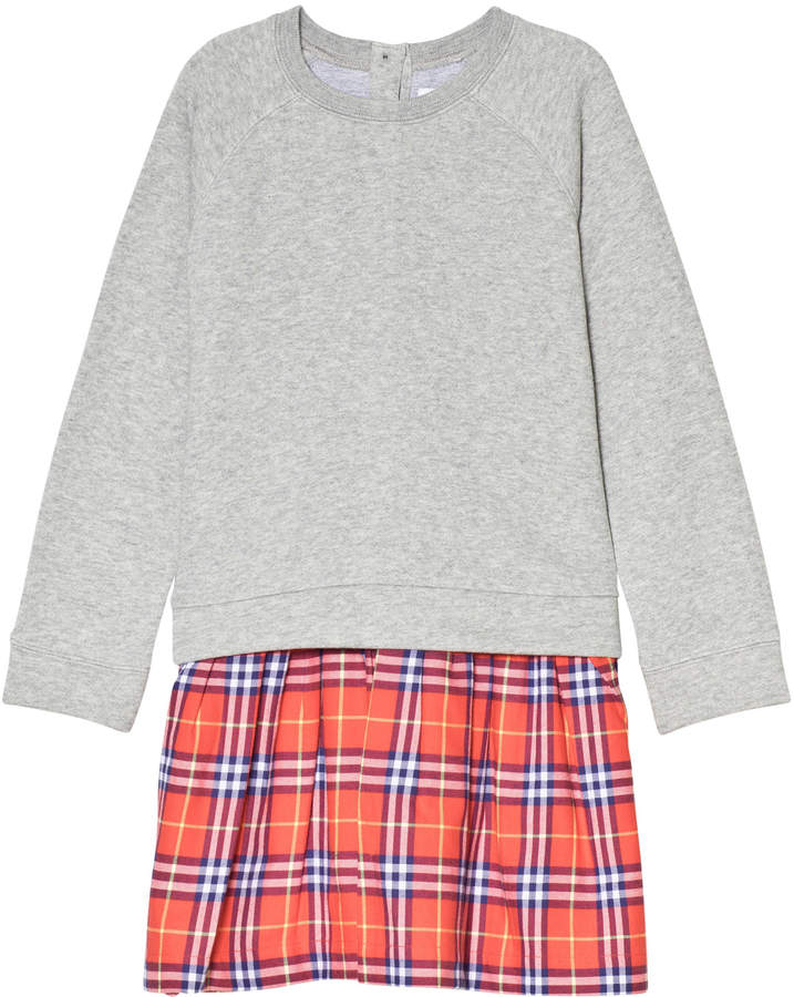 Burberry Grey Francine Sweat Dress with Red Check Skirt