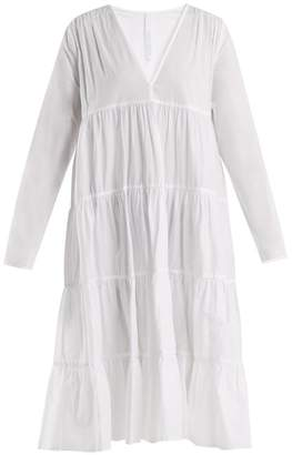 Merlette - Bahama Mama Gathered Cotton Midi Dress - Womens - White