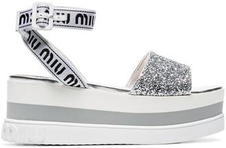 Miu Miu white 75 glitter embellished logo strap leather flatform sandals