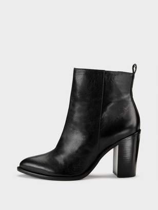 DKNY Houston Glazed Leather Ankle Boot Black 6