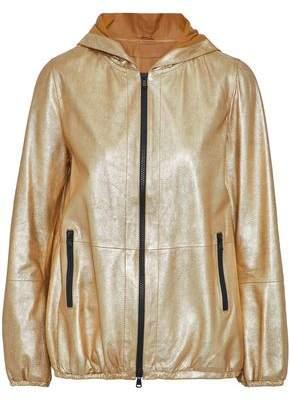 Brunello Cucinelli Metallic Coated Leather Hooded Jacket
