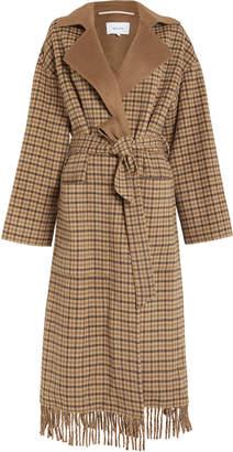 Nanushka Alamo Plaid Wool Wrap Coat