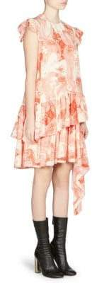 Alexander McQueen Printed Silk Ruffle Dress