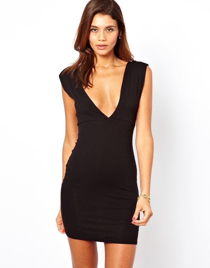 Asos Deep V Plunge Mini Dress