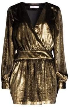 Frame Metallic Velvet A-Line Mini Dress