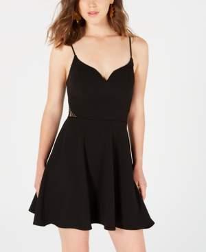 B. Darlin Juniors' Lace-Inset Fit & Flare Dress