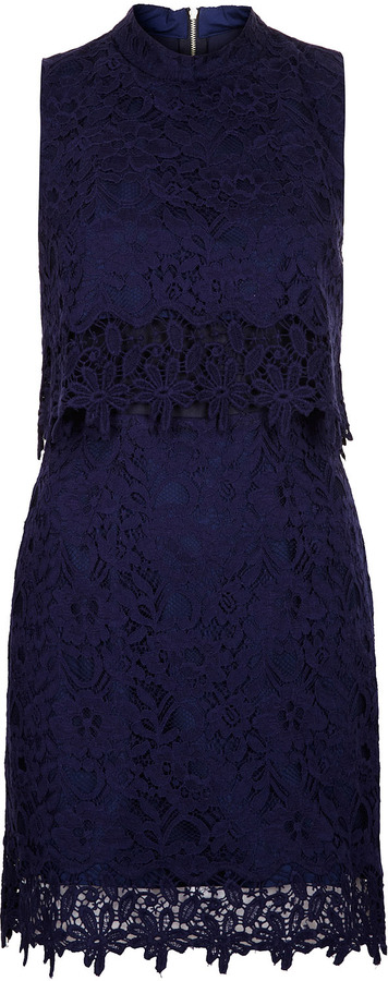 Topshop Sleeveless Crop Lace Dress