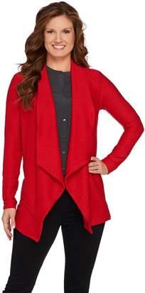 Susan Graver Textured Knit Drape Front Cardigan