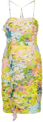 Moschino Ruched Watercolour Floral Dress