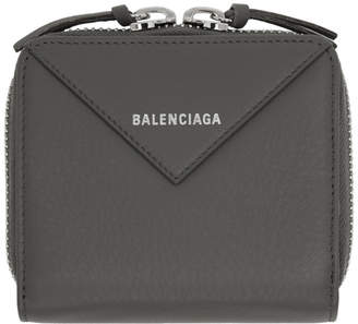 Balenciaga Grey Thin Papier Zip Wallet