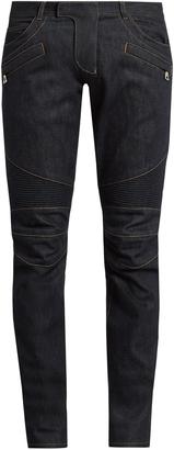 BALMAIN Biker slim-leg jeans $635 thestylecure.com