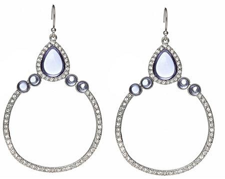 ABS by Allen Schwartz Blue Crystal Gypsy Hoop Earrings