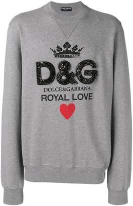 Dolce & Gabbana crystal embellished logo sweatshirt