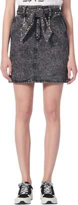 Sandro Fredie Rhinestone Belt Denim Miniskirt