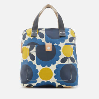 Orla Kiely Women's Laminated Scallop Flower Spot Small Tote Backpack - Denim