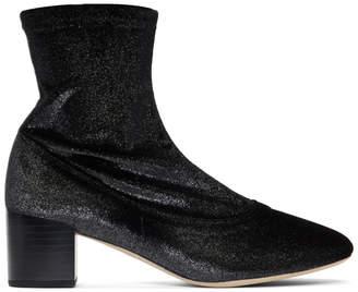 Repetto Black Glitter Velvet Ingrid Boots