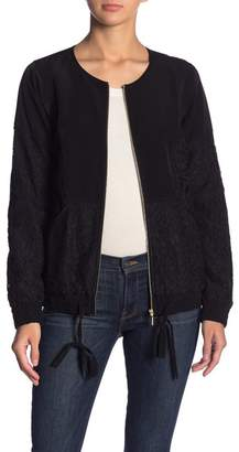 Kensie Lace Panel Zip Front Jacket