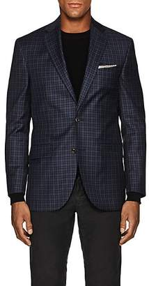 Piattelli MEN'S CHECKED WOOL TWO-BUTTON SPORTCOAT - NAVY SIZE 36 S