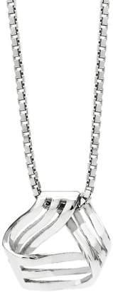 John Greed Rhodium Plated Silver Triangle Knot Necklace
