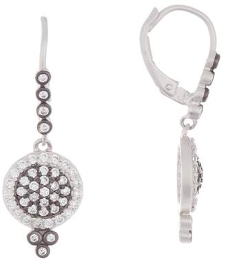 Freida Rothman Sterling Silver Small Pave Disc Leverback Earrings