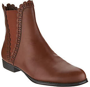 Isaac Mizrahi Live! Leather Ankle Boots withScallop Details
