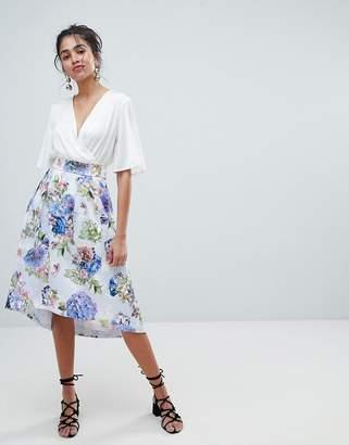 Oasis Floral Bloom Print Dip Hem Midi Skirt