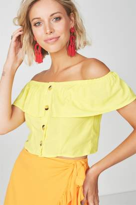 Supre Off Shoulder Frill Button Front Top
